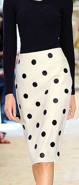 What could be more lovely than a pencil skirt with polka dots?  Ralph Lauren 2014