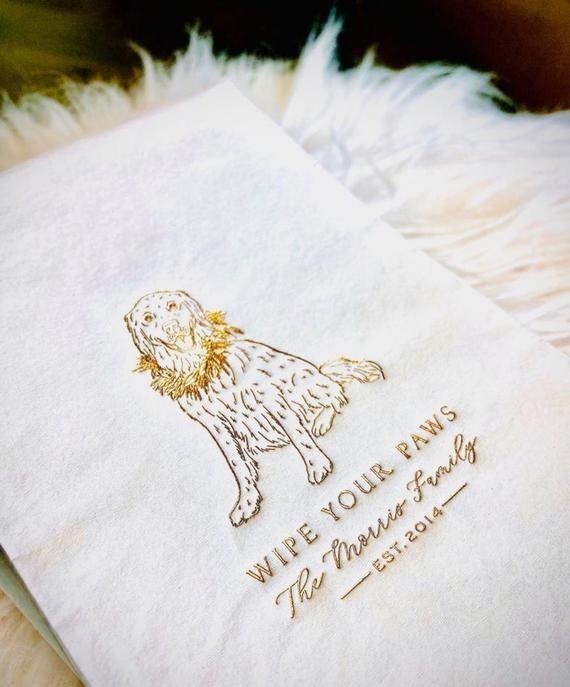 Pet Drawing Napkins Guest Towels Custom Bathroom Napkins Reception Napkins Personalized Guest Towel Dog Portrait Reception Napkin Guest Towels Custom Bathroom