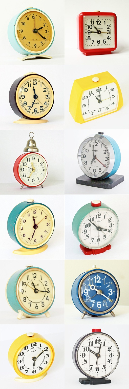 Vintage alarm clocks from clockwork universe