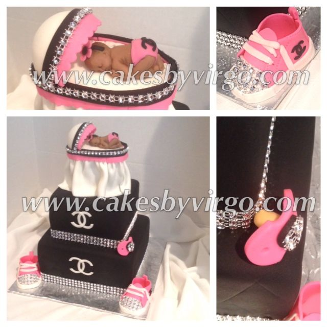 chanel baby shower cakes baby showers cake baby girl shower pink black