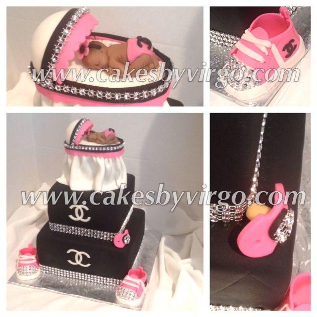 Pink & Black Chanel Baby Shower Cake
