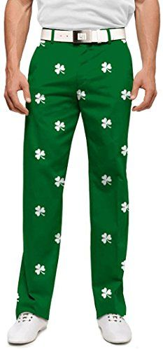 Loudmouth Golf Mens Pants Embroidered White Shamrocks  Size 38x34 ** Details can be found by clicking on the image. Note:It is Affiliate Link to Amazon.