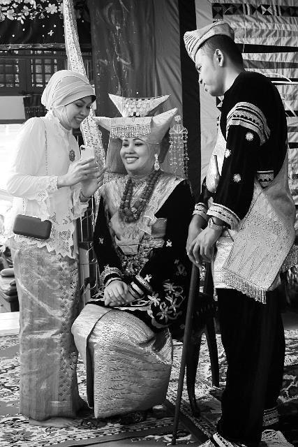 Traditional of Minangkabau's wedding gown , one of Indonesian tribe