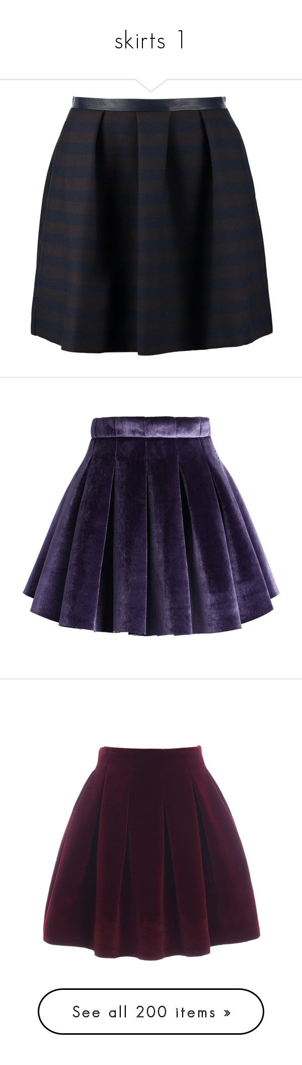 """skirts 1"" by noa005 ❤ liked on Polyvore featuring green, naf naf, skirts, mini skirts, bottoms, purple, saias, velvet mini skirt, box pleat skirt and velvet skirt"