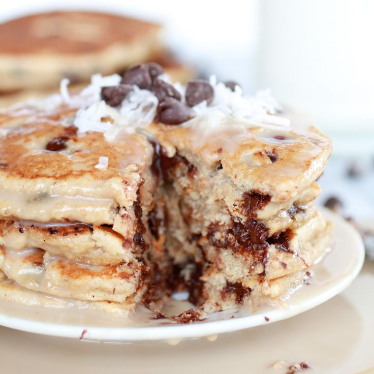 Whole Wheat Chocolate Chip Banana Bread Pancakes with a Vanilla Coconut Glaze-16
