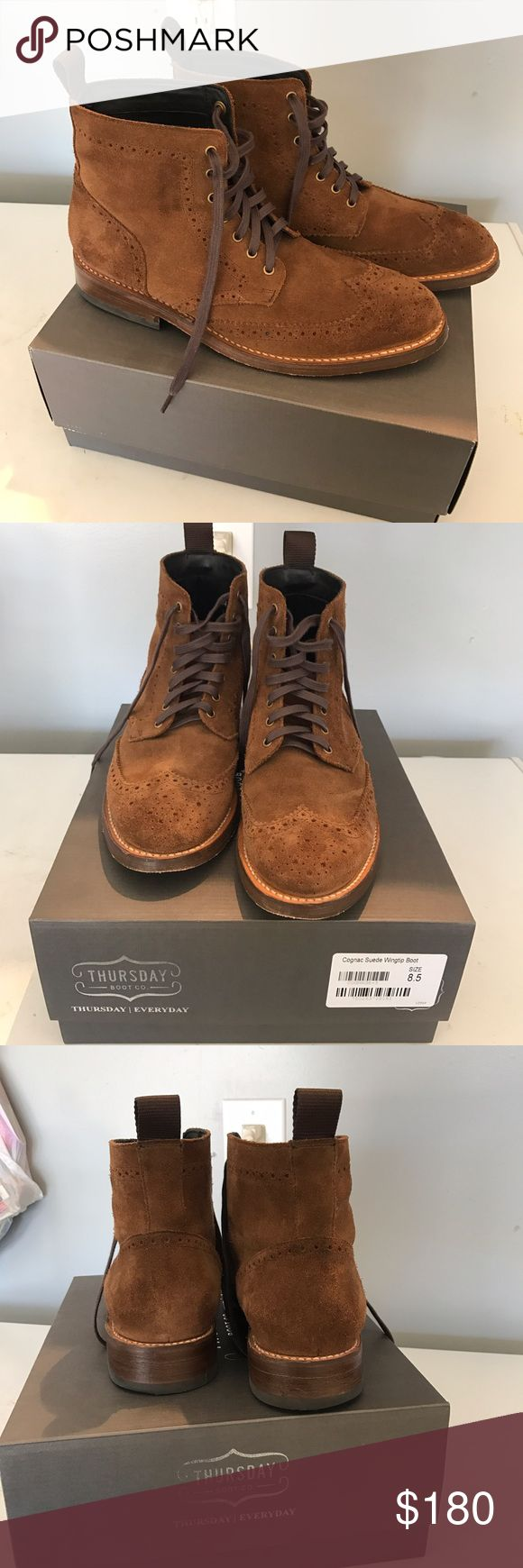 Wingtip boots | Cognac Suede Wingtip boots | Cognac Suede.  I worn about few times. Still in very good condition 8.5/10. It list as $220 brand new on Thursday boots website. Thursday Boots Shoes Boots