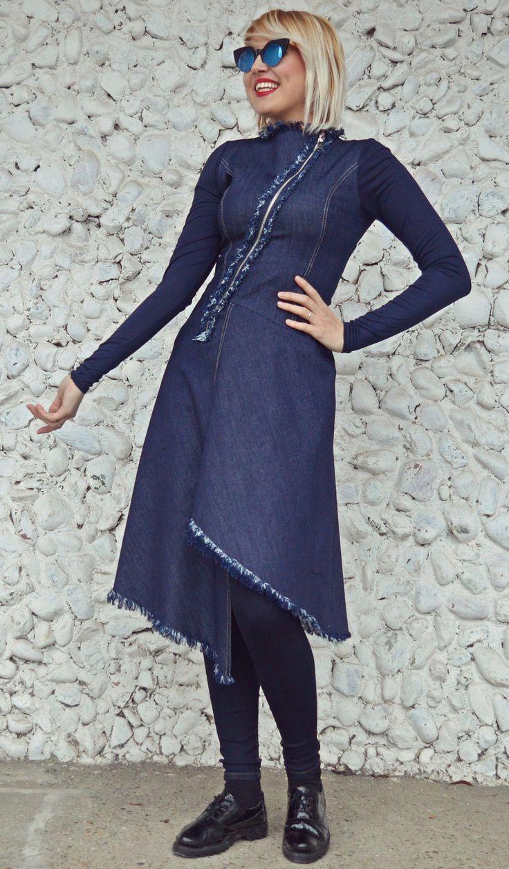 Extravagant Denim Dress, Asymmetrical Navy Dress, Custom Made Denim Dress TDK227 by TEYXO https://www.etsy.com/listing/488538948/extravagant-denim-dress-asymmetrical?utm_campaign=crowdfire&utm_content=crowdfire&utm_medium=social&utm_source=pinterest