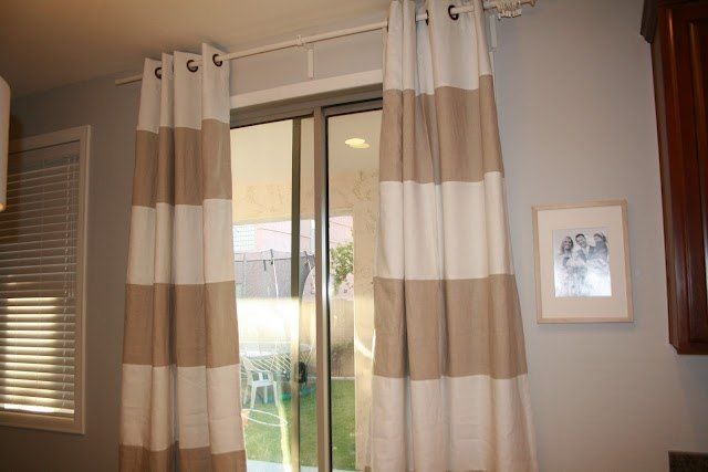 Beige And White Horizontal Striped Curtains White and Black Striped Curtains