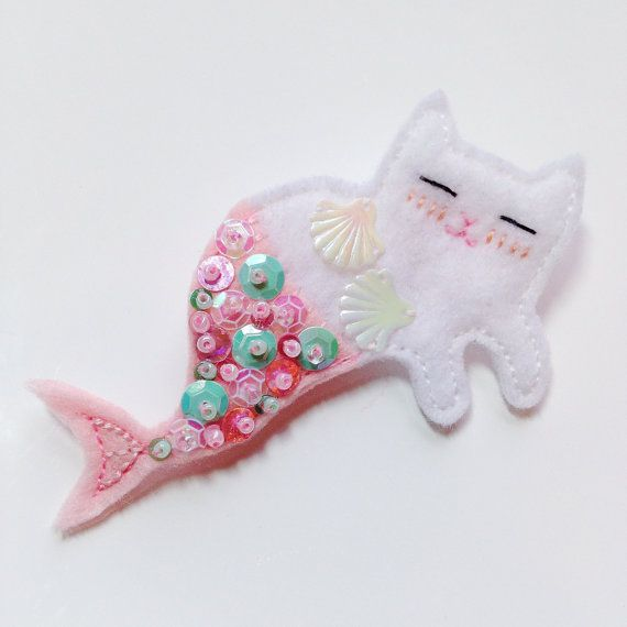 Meowmaid Mermaid Kitty Felt Brooch White by TheAlbinoHare on Etsy