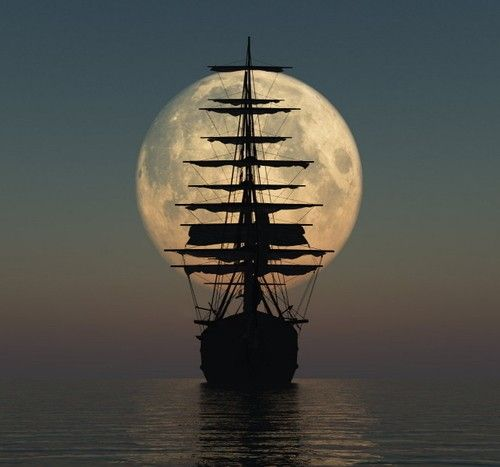 With the moon as my background, suddenly being a pirate becomes cool.:)