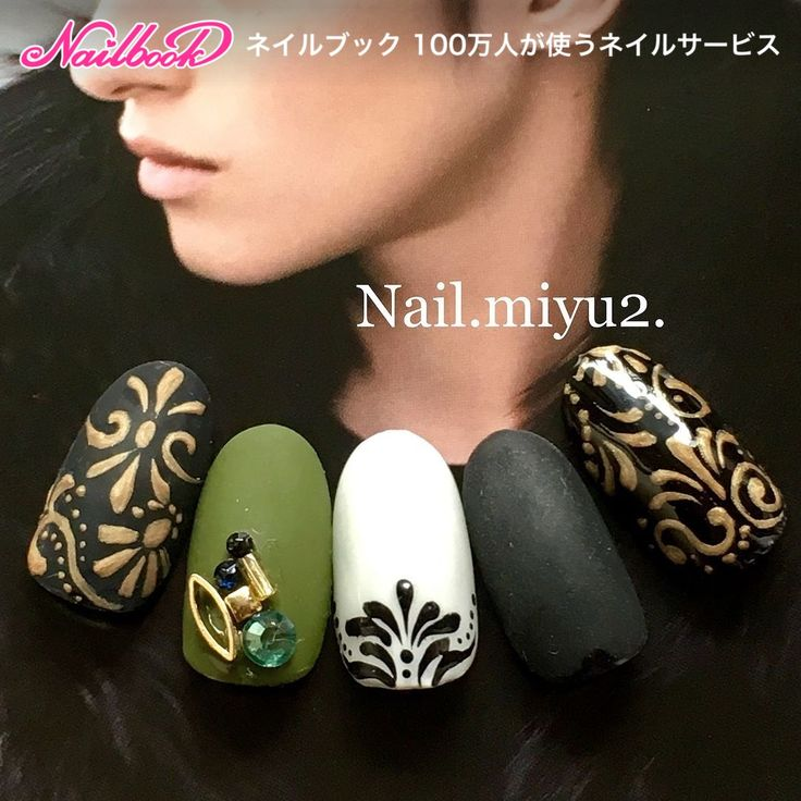 Lovethecombi.olivegreen.black.gold.vintage.nailart.