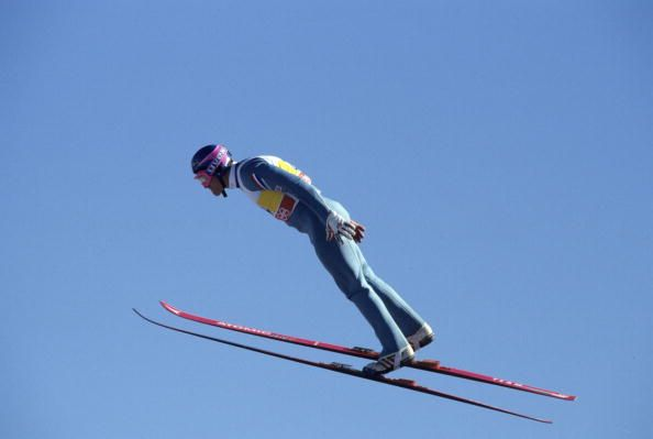 Team GB's Eddie The Eagle Edwards in action at the 1988 winter Olympic Games in Calgary