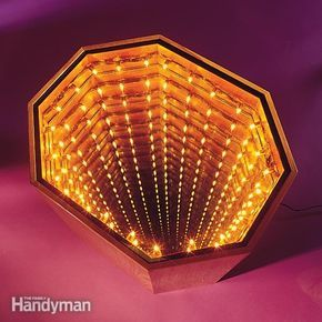 Build an Infinity Table: Turn on the lights inside this table and you'll be staring into infinity. This woodworking project is easy to build, but makes a dramatic impact when the lights inside it go on. http://www.familyhandyman.com/woodworking/projects/build-an-infinity-table/view-all