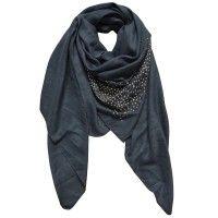 Sjaal blauw met gouden studs