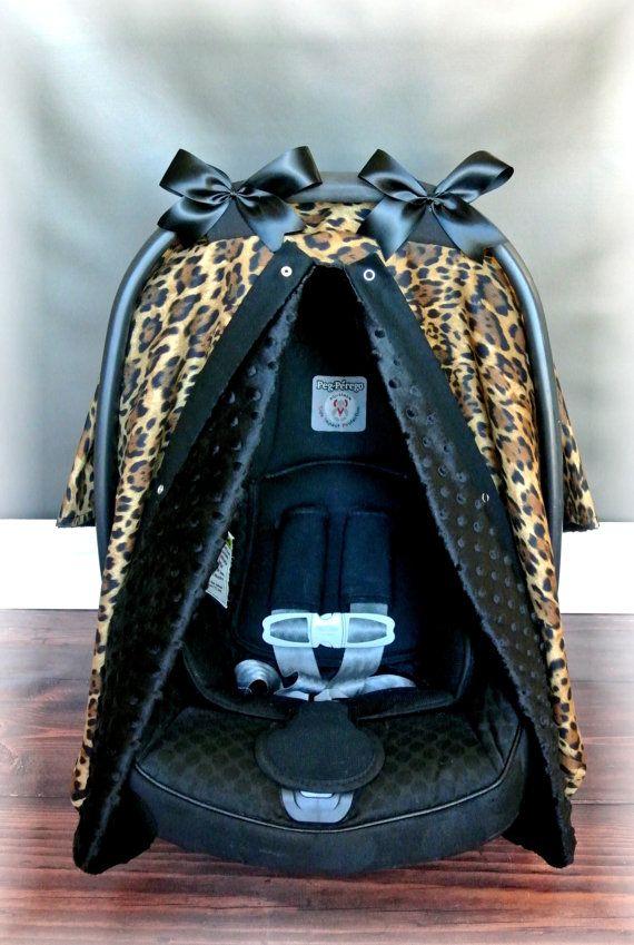 MINKY carseat canopy car seat cover CHEETAH by JaydenandOlivia