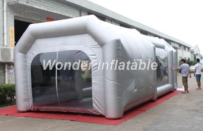 Customized portable grey 8m x 4m x 3mH giant inflatable spray booth inflatable spray paint tent with filters for car garage