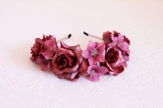 Crimson Roses with Mauve Larkspur Flower by SpringtimeSplendor