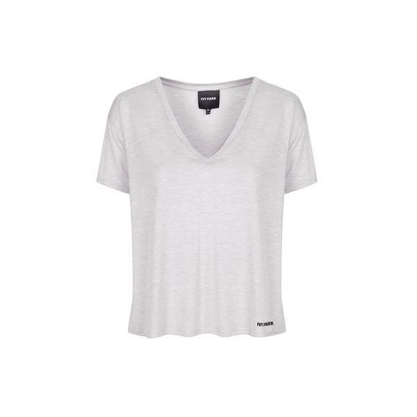 Oversized v-Neck Tee by Ivy Park (195 SEK) ❤ liked on Polyvore featuring tops, t-shirts, light grey m, v neck t shirts, oversized v neck tee, sports tees, logo t shirts and loose v neck tee