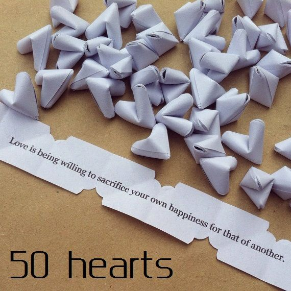 50 paper origami heart love quotes - wedding favour - simple decor - free worldwide shipping