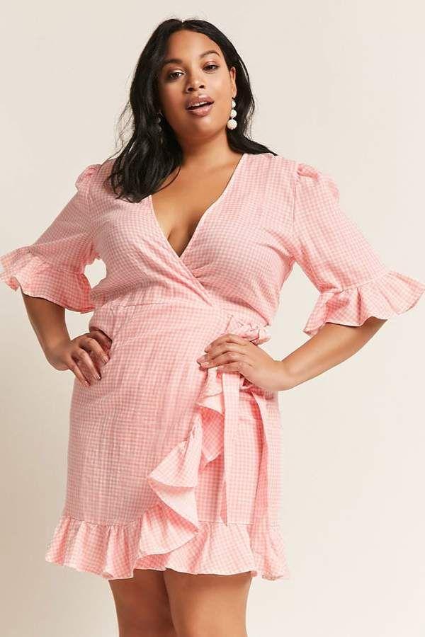 f393e2b4c4 Forever 21 Plus Size ETA Gingham Wrap Dress
