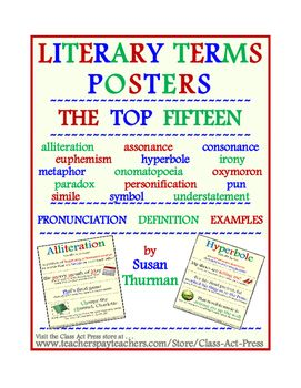 Included in this 15-page printable are posters that show pronunciation, definition, and examples of •	alliteration •	assonance •	consonance •	euphemism •	hyperbole •	irony •	metaphor •	onomatopoeia •	oxymoron •	paradox •	personification •	pun •	simile •	symbol •	understatement   Posters are suitable for upper elementary, middle school, high school, homeschool classes, and college.  #LiteraryTerms #LiteraryDevices #Posters #Poetry