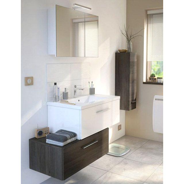 Meuble de salle de bains blanc + meuble bas Nida - CASTORAMA