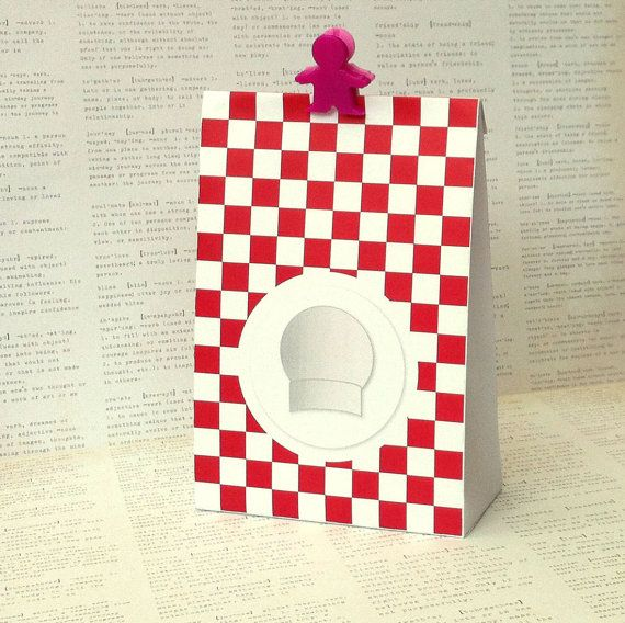 Lil Chefs Gift Bag template. Features red checkerboard background with chefs hat motif. Also includes matching printable gift tags in three