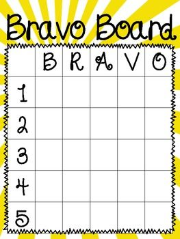 This Bravo board is a great tool to use with your classroom management.  To positively reward students for on-task behavior, allow them to write their name in one square of the Bravo board.  When all of the squares have been filled up, draw from a hat one letter (B, R, A, V, O) and one number (1, 2, 3, 4, 5) and reward the winning student with an incentive.