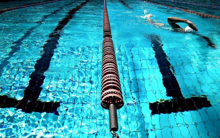 Hämta bilder simning, pool, simmare, blått vatten, gångväg i poolen