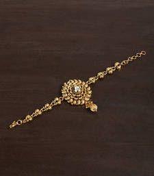 Buy GOLD PLATED BAJUBANDH IN DULL FINISH WITH KUNDAN SETTING bajuband online