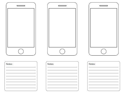 iphone wireframe template a4 pdf