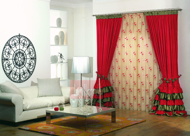 Contemporary Red Curtain Style 2015 For Living Room Modern Curtain Designs