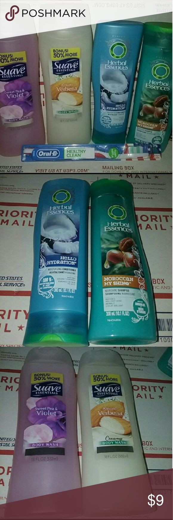 NEW Womens Mix Herbal Essences & Suave Oral B NEW Womens Mix Herbal Essences & Suave Oral B Get Everything Pictured Includes.. Herbal Essences Moraccan My Shine 10oz Shampoo ... Herbal Essences Hello Hydration 10oz Conditioner.. Suave Essentials Almond Verbena Cramy Body Wash 18oz.. Suave Essential Sweet Pea & Violet Body Wash 18oz.. NEW Oral B Medium Healthy Clean Toothbrush...   ?? ~ ALL ITEMS NEW ~ ??  Check Out My Page To Save ** Accessories Hair Accessories