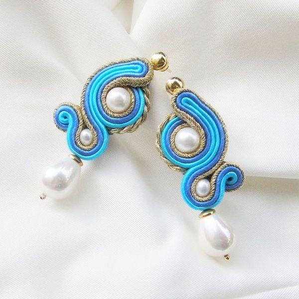 """""""Afrodyta"""" kolczyki sutasz z perłami Seashell w Blue Butterfly na DaWanda.com"""