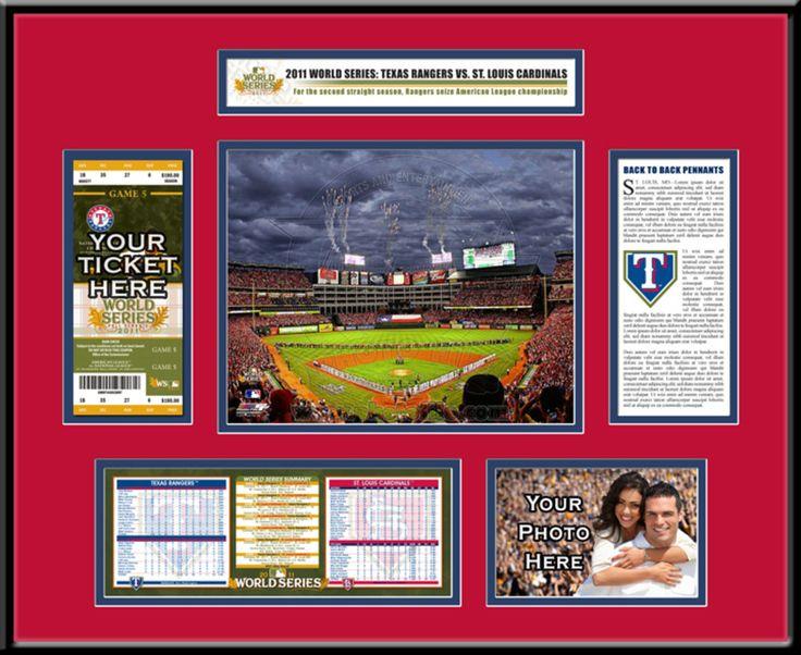2011 MLB World Series Ticket Frame - Texas Rangers