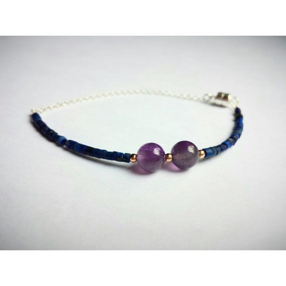 Delicate gemstone bracelet lapis lazuli with amethyst by shopOOLA