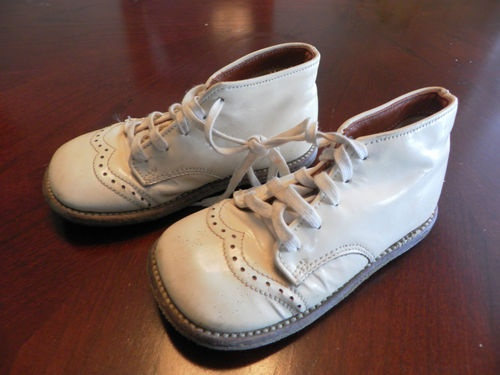 Vintage Buster Brown Patent Leather White Baby Child Boy