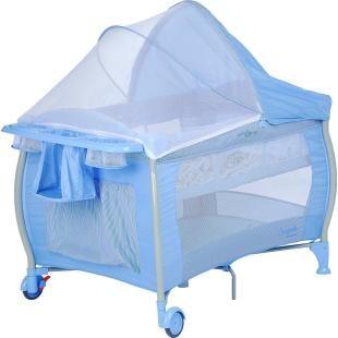 Berço Dobrável Portátil Burigotto Nanna Blue Check.    Acompanha bolsa para transporte.    Fácil de montar e desmontar, excelente para viagen.