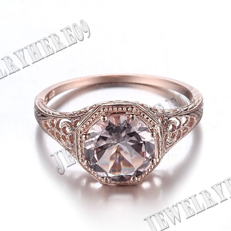 8mm Morganite Round Engagement Wedding ANTIQUE Fine Ring Solid 14K Rose Gold  | eBay