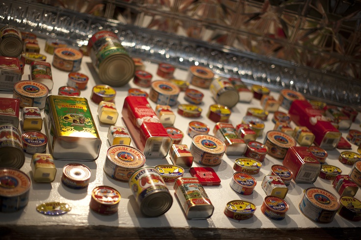 Tons of Italian cans hung on the wall.  Salito's Crab House & Prime Rib  1200 Bridgeway, Sausalito, CA  415.331.3226