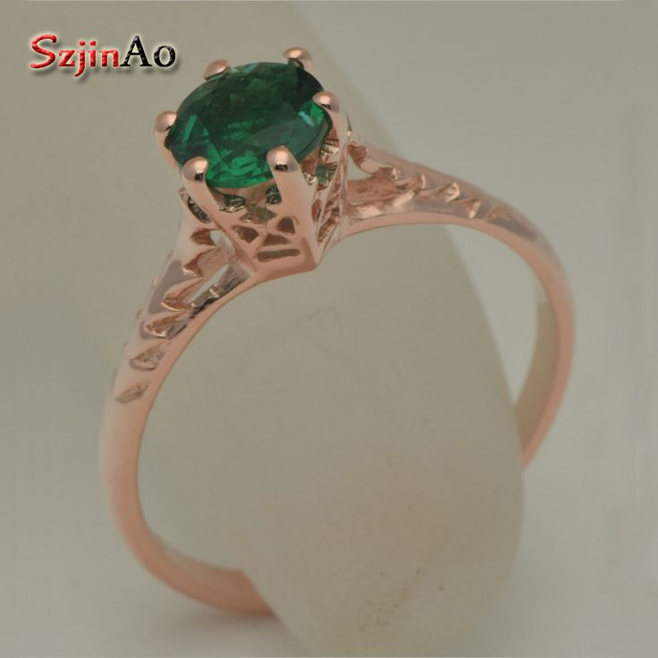 Szjinao Sole starting custom pure natural rose gold color green Stone crystal 925 silver series elegant wedding ring female