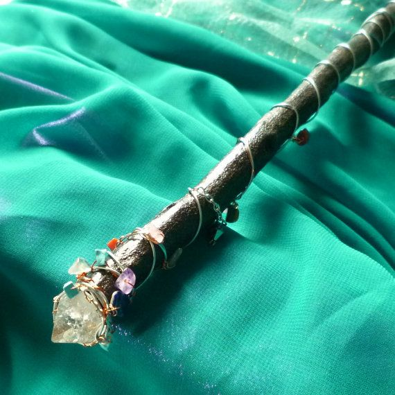 Crystal Wand Wire Wrapped Wand Gemstone Wood by mystic2awesome, $17.77