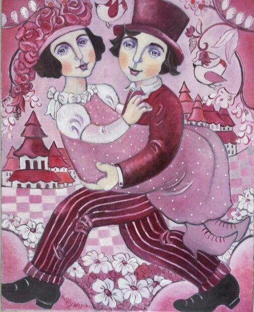 Le Marriage en Rouge; inspired by Bjorn Wiinblad...