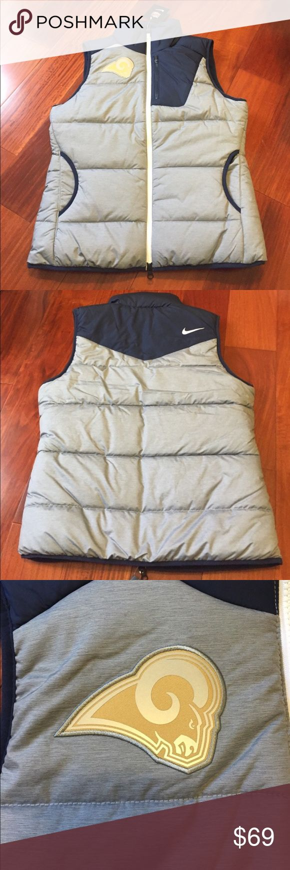 💥 NIKE WOMENS LOS ANGELES RAMS NFL PUFFER VEST Brand new with tag attached Nike Championship Drive Team Apparel (NFL Rams) Women's Winter Vest. Size: S   BENEFITS:  Insulated, quilted design helps keep you warm Mock neck zips up to your chin for custom coverage Sleeveless profile allows natural movement Side pockets and chest zip media pocket PRODUCT DETAILS: Size: S Fabric: Body / Pocket: 100% polyester. Lining: 100% nylon Fill: 100% polyester Machine wash Made in Indonesia Nike Jackets…