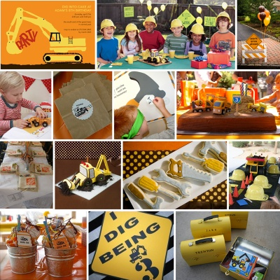 Tons of ideas for a construction theme kids party
