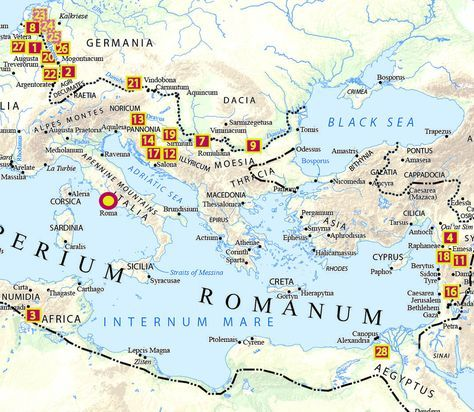 This map depicts the deployment of Rome's legions when Rome's first emperor, Augustus, died in 14 AD. Augustus and his successors distributed the Roman army along the frontier, ensuring that no single general had command of more than a small fraction of Rome's troops at any one time. And emperors reduced the soldiers' dependence on their commanders by paying them salaries from the imperial treasury.