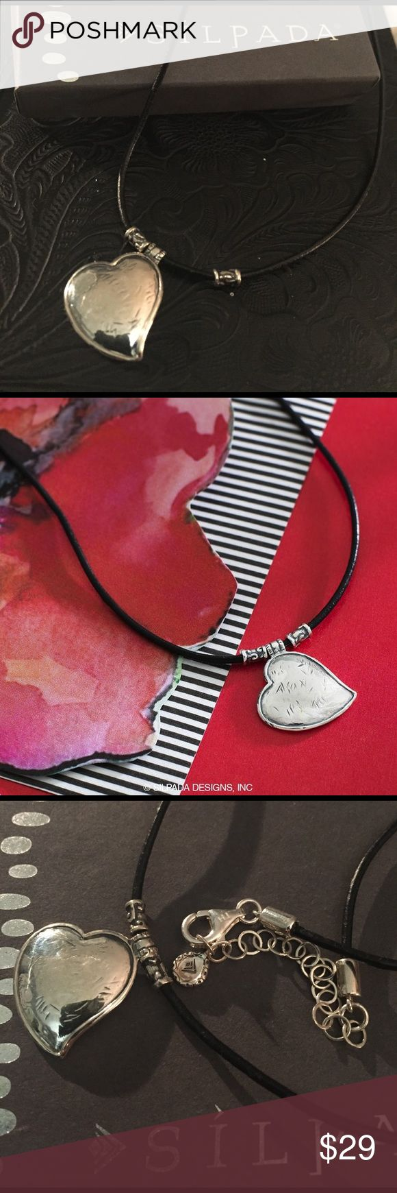 "Silpada Necklace New. Silpada ""You've Got Heart"" Necklace. Genuine leather chain and Sterling Silver Heart. Adjusts 18-20"". Comes with original packaging and box. Silpada Jewelry Necklaces"