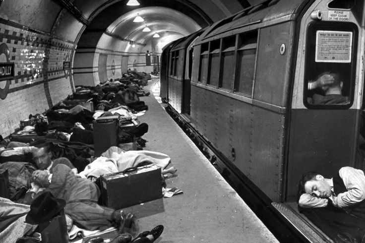 Londoners sleep in the city's Underground for protection during German bombing raids, 1940