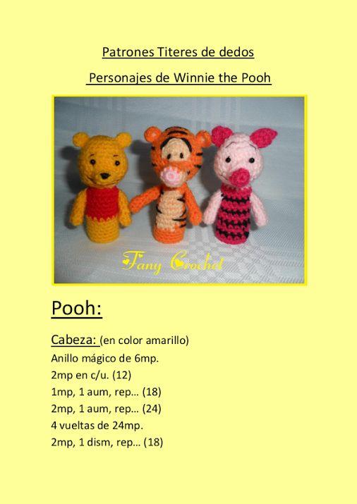Patron titeres de dedo personajes de winnie the pooh