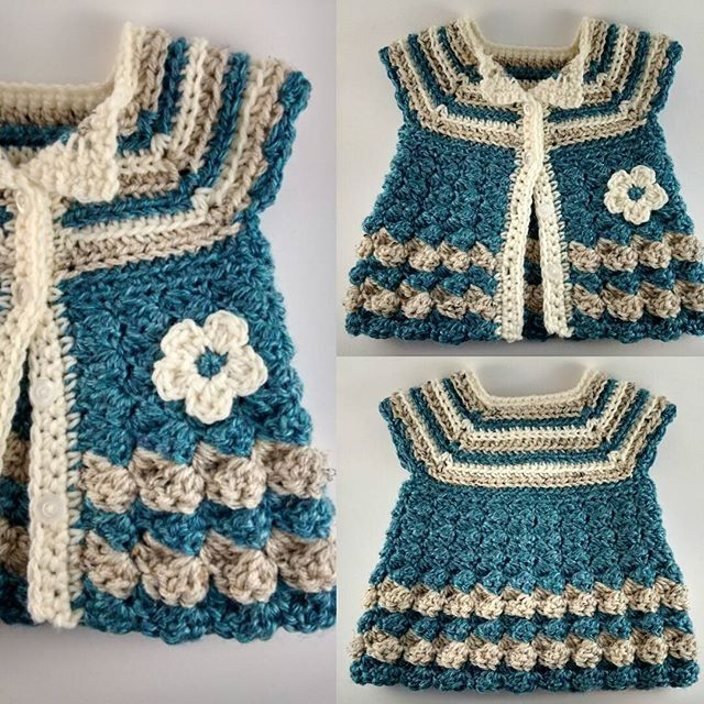 Crocheted Stripes and Bubbles Baby Cardigan  #crochet #baby #sweater #clothes #Cardigan #newborn #stripes #bubbles #flower @myhobbyiscrochet  #ravelry